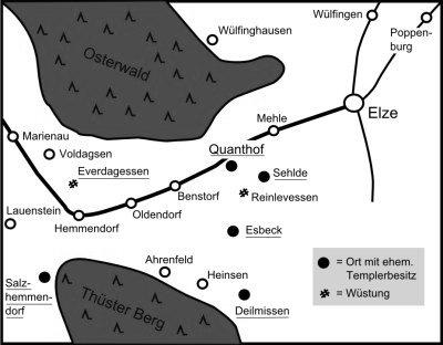 Orte zwischen Osterwald und Thüster Berg, in denen die  Tempelritter Besitzungen hatten. Der 1119 in Jerusalem  gegründete Orden bestand nur etwa 200 Jahre.