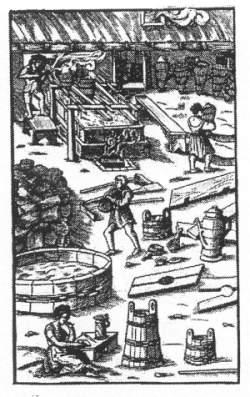 Dies ist wohl als bildliche Darstellung des Siedens, des Zubehörs und der notwendigen Arbeiten  gedacht. Wir sehen die Siedepfanne, den nötigen Holzvorrat zum Heizen, die Sole-Budde, Kübel, Kanne, Körbe, Schöpflöffel, Siedewerkzeug sowie den Salzsieder und  seine Zuarbeiter, davon 2 Frauen (eine davon macht Mittagspause).