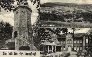 Alte Postkarte mit Lönsturm, Kurhaus und Knübel